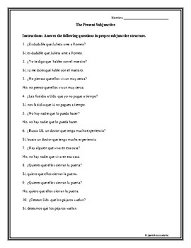 Present Subjunctive Questions2