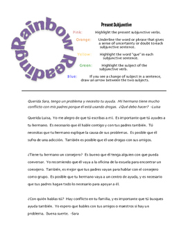 Spanish Present Subjunctive Rainbow Reading