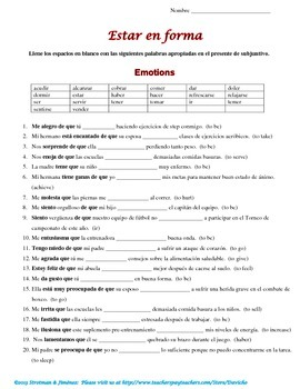 Present Subjunctive and WEIRDO with Health (La salud) theme