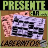 Present Tense AR Verb Mazes in Spanish
