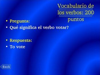 Present Tense AR- Verb conjugation Jeopardy