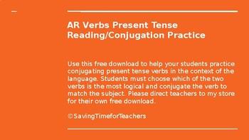 Present Tense AR Verbs Practice PPT