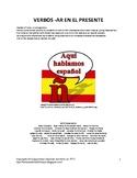 Present Tense -AR Verbs in Spanish (BINGO, Writing Activity)