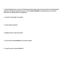 Present Tense AR verb practice: Reading comprehension and questions