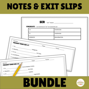 Present Tense BUNDLE Notes Practice Assessment