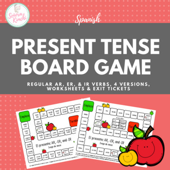 Present Tense Conjugation Board Game (Regular AR, ER, and IR verbs, 2 versions!)
