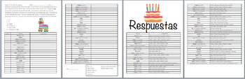 Present Tense Dice Game- Birthday Party Vocab (Realidades 1/B Ch.5A)