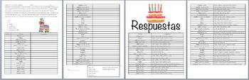 Present Tense Dice Game- Birthday Party Vocab (Realidades
