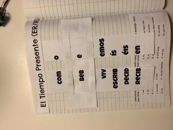 Present Tense ER/IR Verbs Conjugation Slider - Interactive Student Notebook