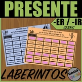 Present Tense ER and IR Verb Mazes in Spanish