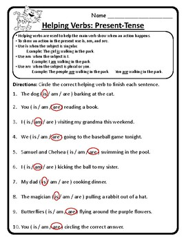 Present-Tense Helping Verbs Am, Is, Are Helping Verbs Worksheet Practice ELA
