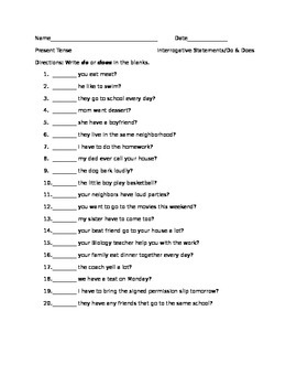 Present Tense Interrogative Sentences Exercises