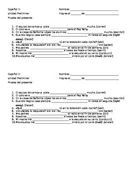 Present Tense Irregular Verb Quiz - ten points, half page