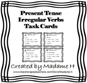 Present Tense Irregular Verbs Task Cards