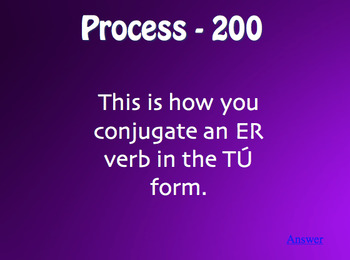 Spanish Present Tense Jeopardy-Style Review Game