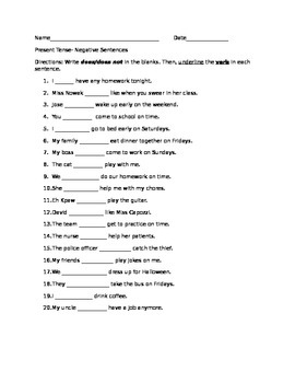 Present Tense Negative Sentences Exercises