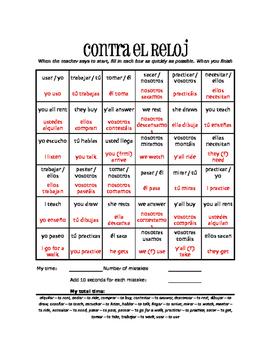 Spanish Present Tense Regular AR Against the Clock