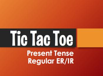 Spanish Present Tense Regular ER and IR Tic Tac Toe Partner Game