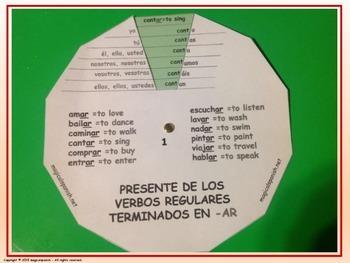 Present Tense. Regular Verb Conjugation - Verb Wheels. PDF