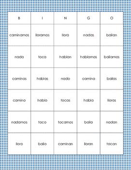 Present Tense Regular Verb -ar Bingo in Spanish