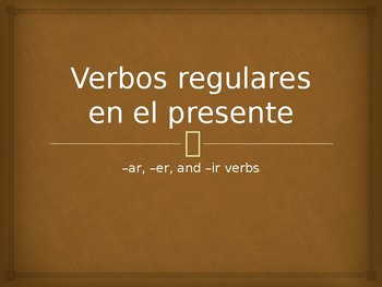 Present Tense Regular Verbs Conjugation Whiteboard Practice