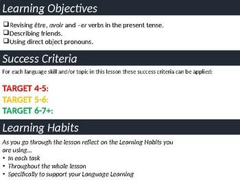 Present Tense Revision, Describing Friends, Direct Object Pronouns