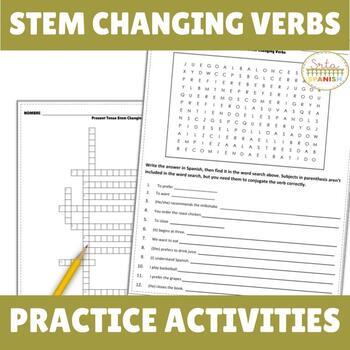 Present Tense Stem Changers Crossword (Boot verbs)