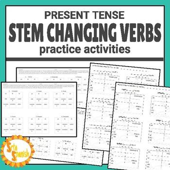 Present Tense Stem Changers Tic Tac Toe E-IE / O-UE / E-I
