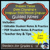 Present Tense Stem Changing Verbs - Spanish Guided Notes and Key