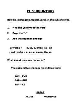 Present Tense Subjunctive Study Guide