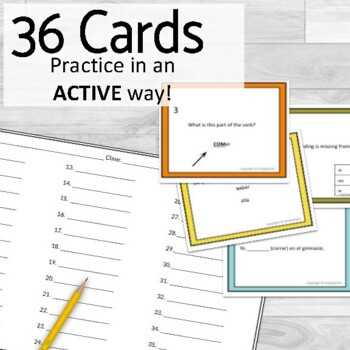 Present Tense Task Cards Regular -ER Verbs