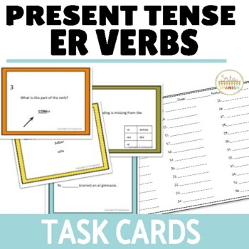 Present Tense ER Verbs Task Cards