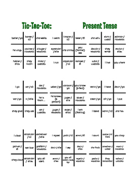 Spanish Present Tense Tic Tac Toe Partner Game