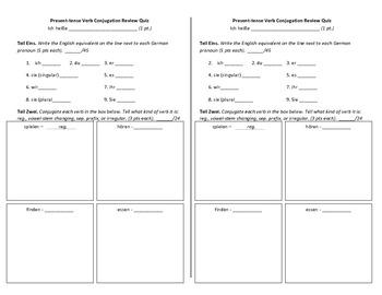 Present Tense Verb Conjugation Review Quiz