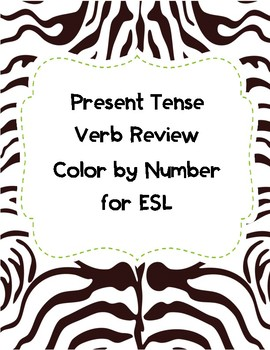 Present Tense Verb Review Color by Number for ESL