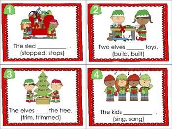 Present Tense Verbs- Christmas Theme (Literacy Center)