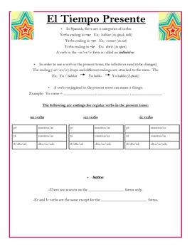Present Tense Verbs Conjugations Packet!