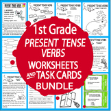 Present Tense Verbs Worksheets & Task Cards Bundle – 1st Grade Verbs Activities