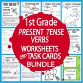 Present Tense Verbs Worksheets & Task Cards Bundle – 1st Grade Verbs Activities