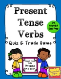 Present Tense Verbs Quiz and Trade Review Game or Flashcards