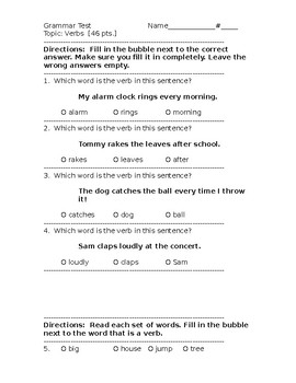 Present-Tense Verbs Test/Assessment
