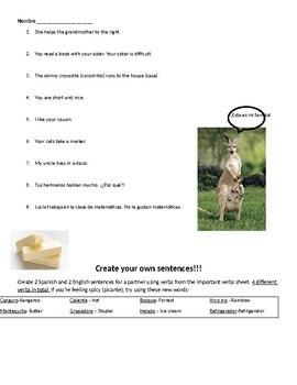 Present Tense Verbs practice sentences / Creation sentences