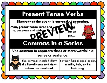 Present Tense and Commas In a Series Anchor Chart