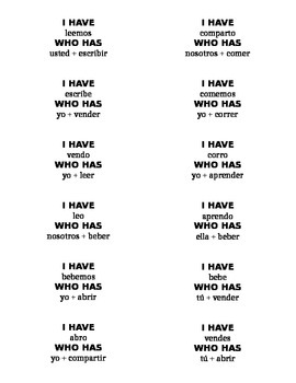 Present Tense -er -ir verb game: I have, Who has
