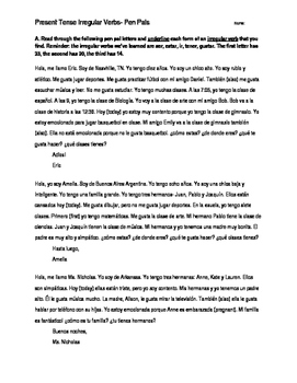 Present Tense - mini pen pal letter worksheet