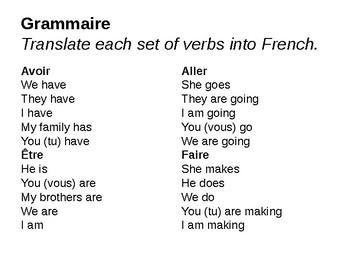 Present Tense of Irregular Verbs