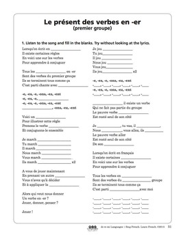 French -er Verbs Song and Writing Activities
