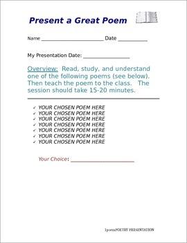 Present a Poem Instructions / Rubric (DOC)