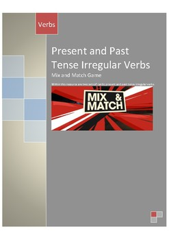 Present and Past Tense Irregular Verbs Mix n Match Game with Answer Key