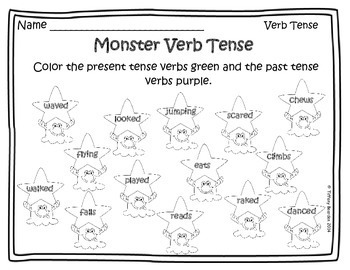 Present and Past Verb Tense Activities